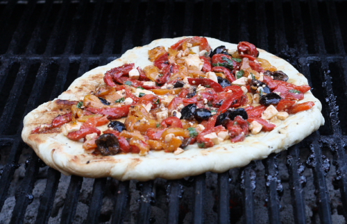 pepper pizza on grill