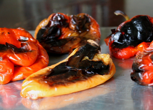 blackened peppers