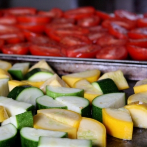 raw veg on sheets