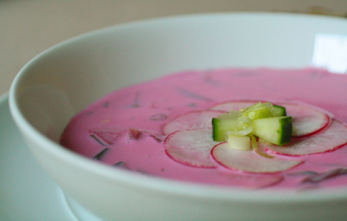 ... chilled Polish soup with buttermilk and beets. Look at recipes online