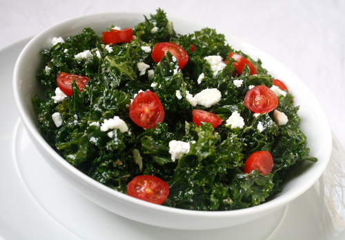 kale salad recipe feta lemon tomato