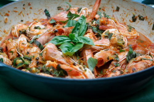 prawns with basil in le creuset braiser