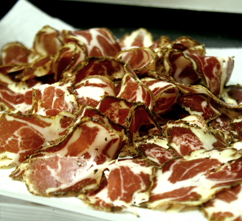 sliced coppa for diner en blanc
