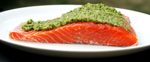 wild salmon with garlic scape pesto