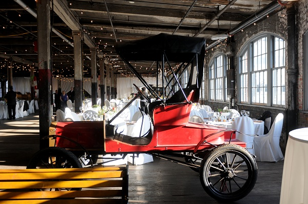 wedding reception at Model T plant