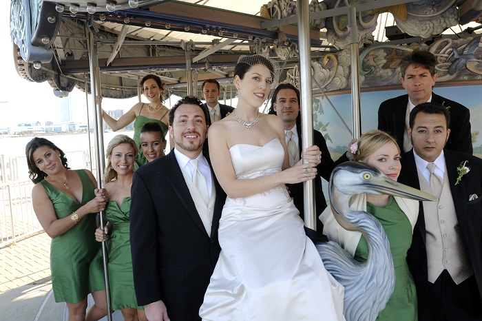merry go round wedding photo at Detroit riverwalk