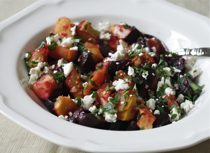 roasted beet and squash salad with feta, lemon and parsley