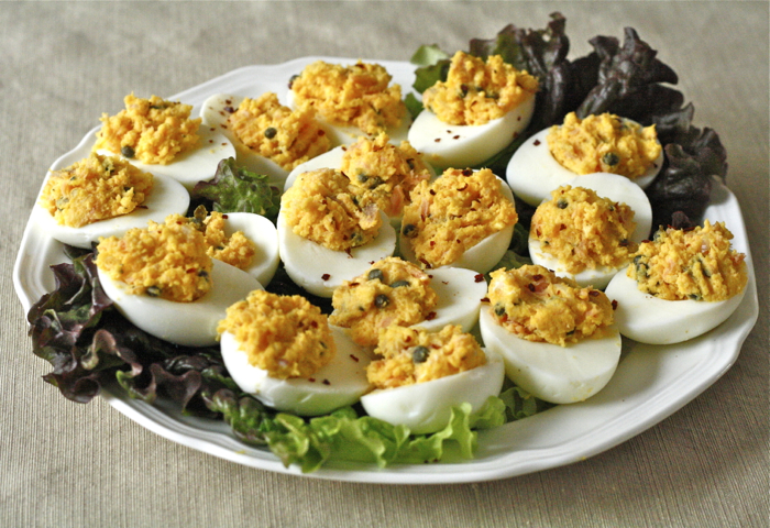 smoked salmon deviled eggs with capers