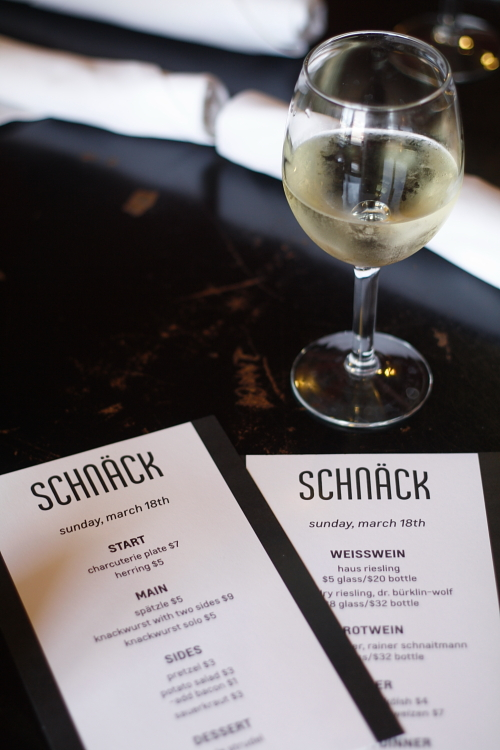 Menus for Schnack German pop-up restaurant